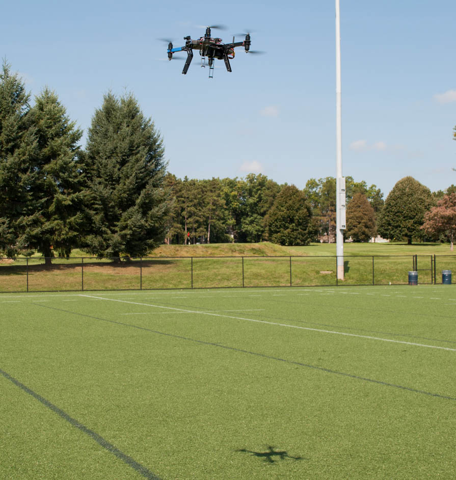 octocopter hovers