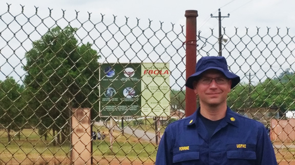 MGIS alumnus Stephen Perrine currently deployed as part of an Ebola Task force team in Liberia.