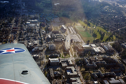 Aerial view of the west end of the University Park Campus