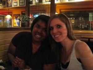 My freshman year roommate, Lauren and I at my birthday dinner at Applebee's.