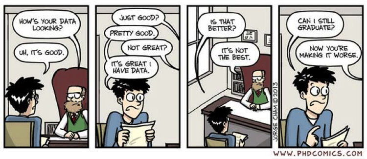 PhD Comic making fun of grad student for having bad data