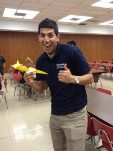 SHPE Penn State member Jeremick Agudelo poses with a glider plane