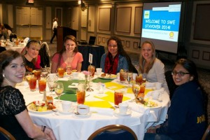 At a dinner, students and their parents learned about the opportunities at Penn State, including orientation, special living options and how to get the most out of college classes and clubs. (Photo credit: Society of Women Engineers)
