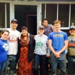EWB volunteers gather on the last day of work to say goodbye to JoAnn and celebrate the fantastic progress made on her home.