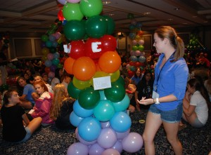 Freshman women construct balloon castles at the Nittany Lion Inn.