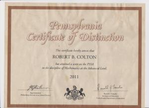 Pennsylvania Certificate of Distinction