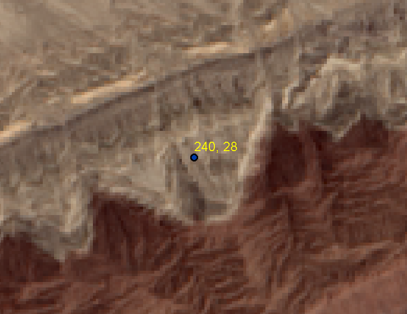 screenshot of map showing field observations feature class labeled with strike