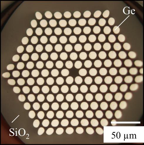 Ge array in silica fiber