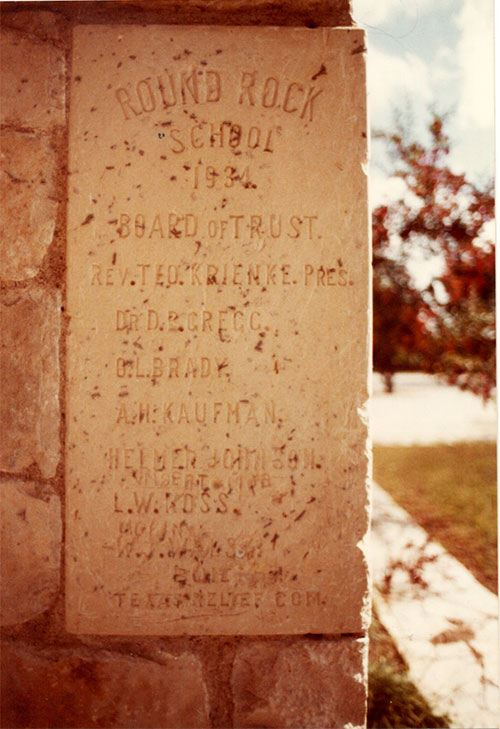 Mexican School Cornerstone placed in 1934 showing names of Board of Trustees