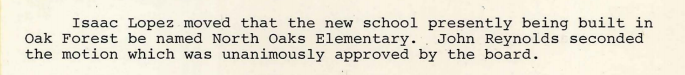 1978-05-11 North Oaks Elementary School is named