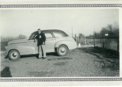 1947? High School boy with car