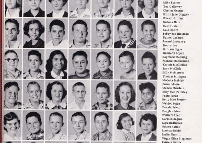 Yearbook page showing individual class photos for 58 students in 8 rows of 7 across