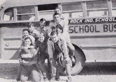 1952 boys posing by bus