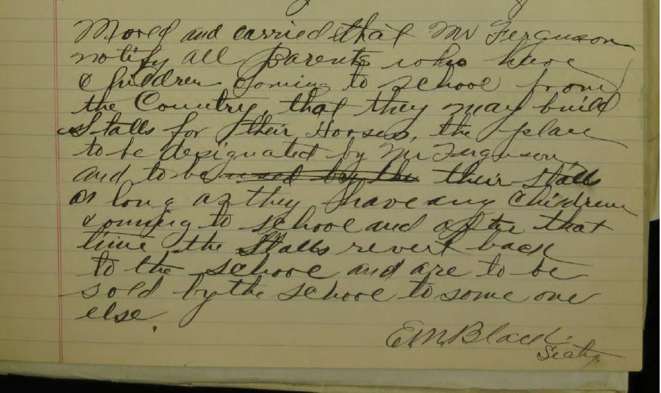Original Board notes from 1914 in handwritten format