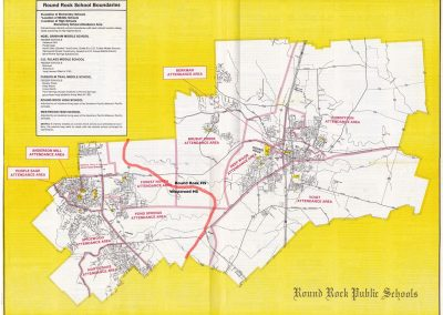 District boundary map from 1982-83 school year showing elementary, middle and high school boundaries. The district had 10 elementary schools, 3 middle schools and 2 high schools.