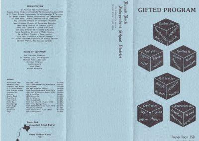 1982-83 Gifted program brochure front panel