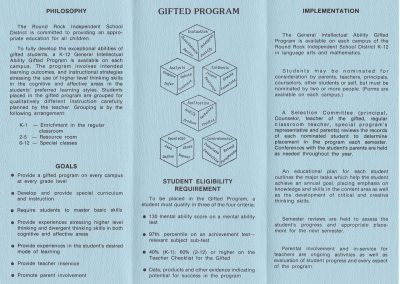 1982-83 Gifted Program Inside