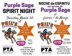 Spirit Night March 1st