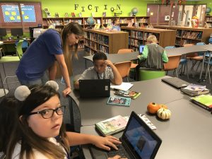Students creating booksnaps