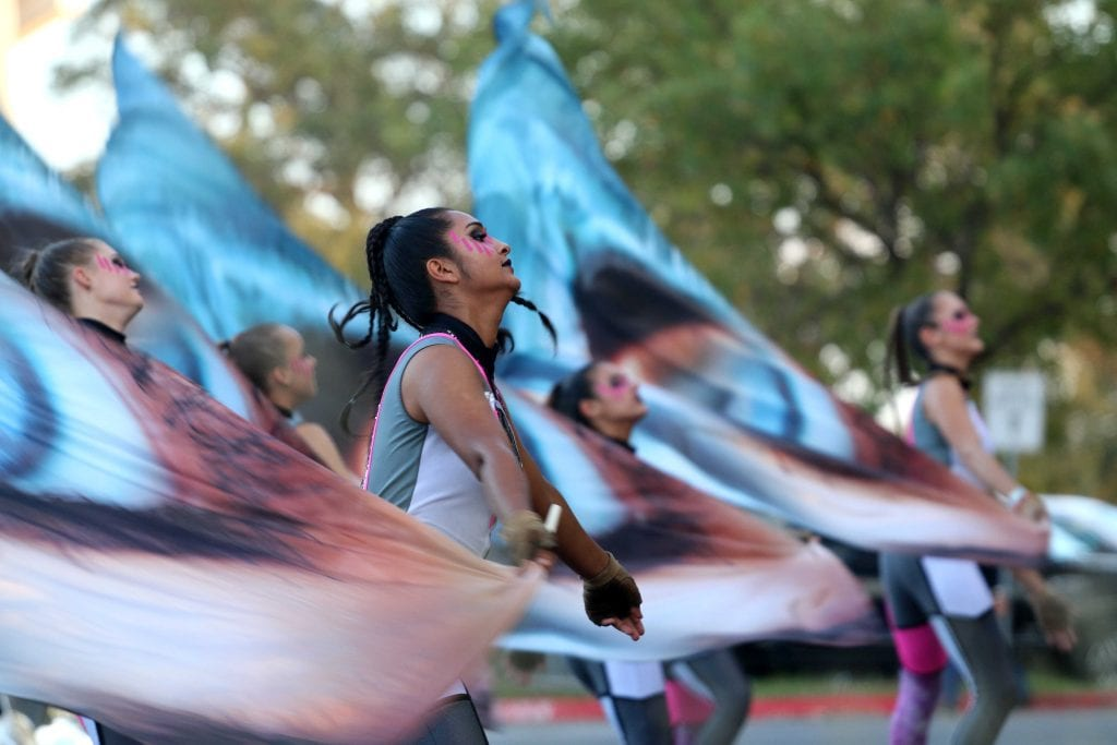 McNeil High School Color Guard with flags