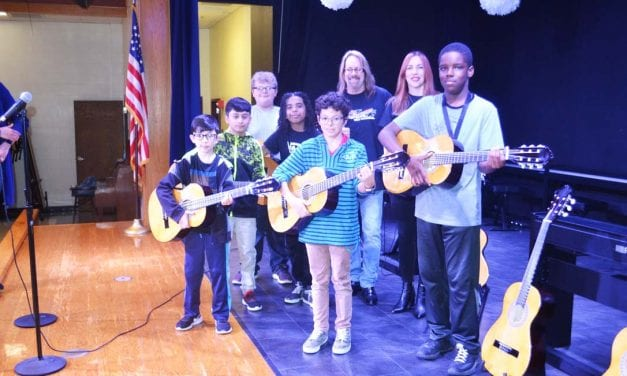 Kids Rock the Nation donates guitars to Berkman Elementary