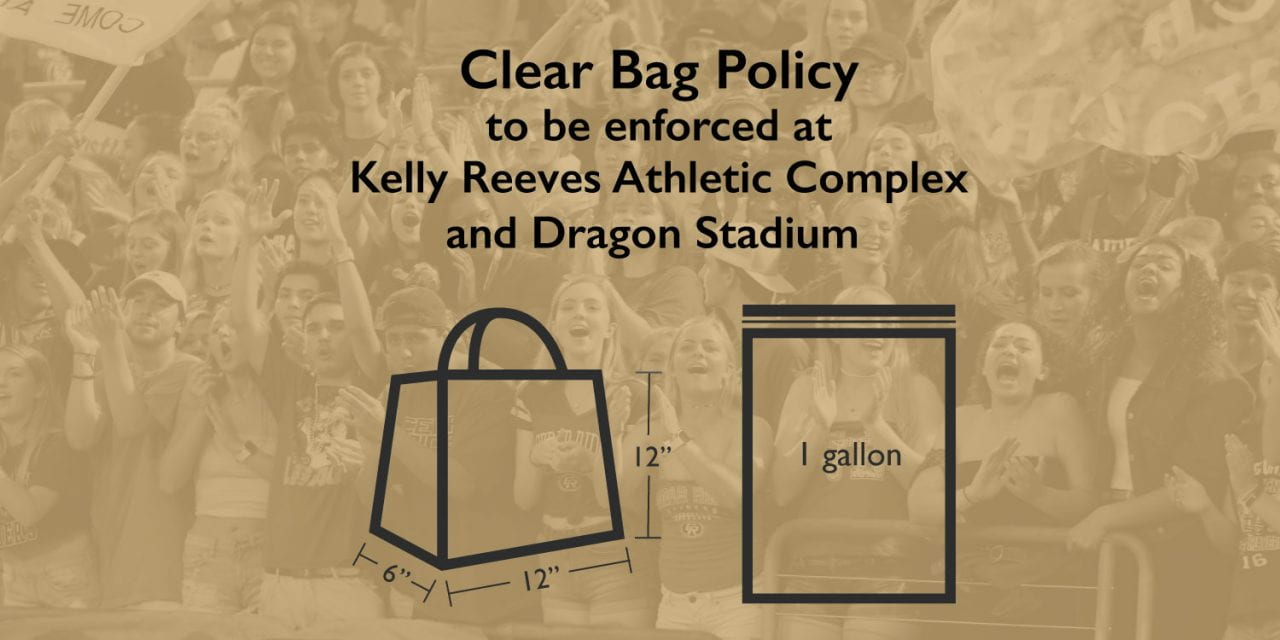 Clear Bag Policy to be enforced at Kelly Reeves Athletic Complex and Dragon Stadium