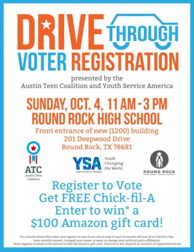 Flyer for a Drive Through Voter Registration Event