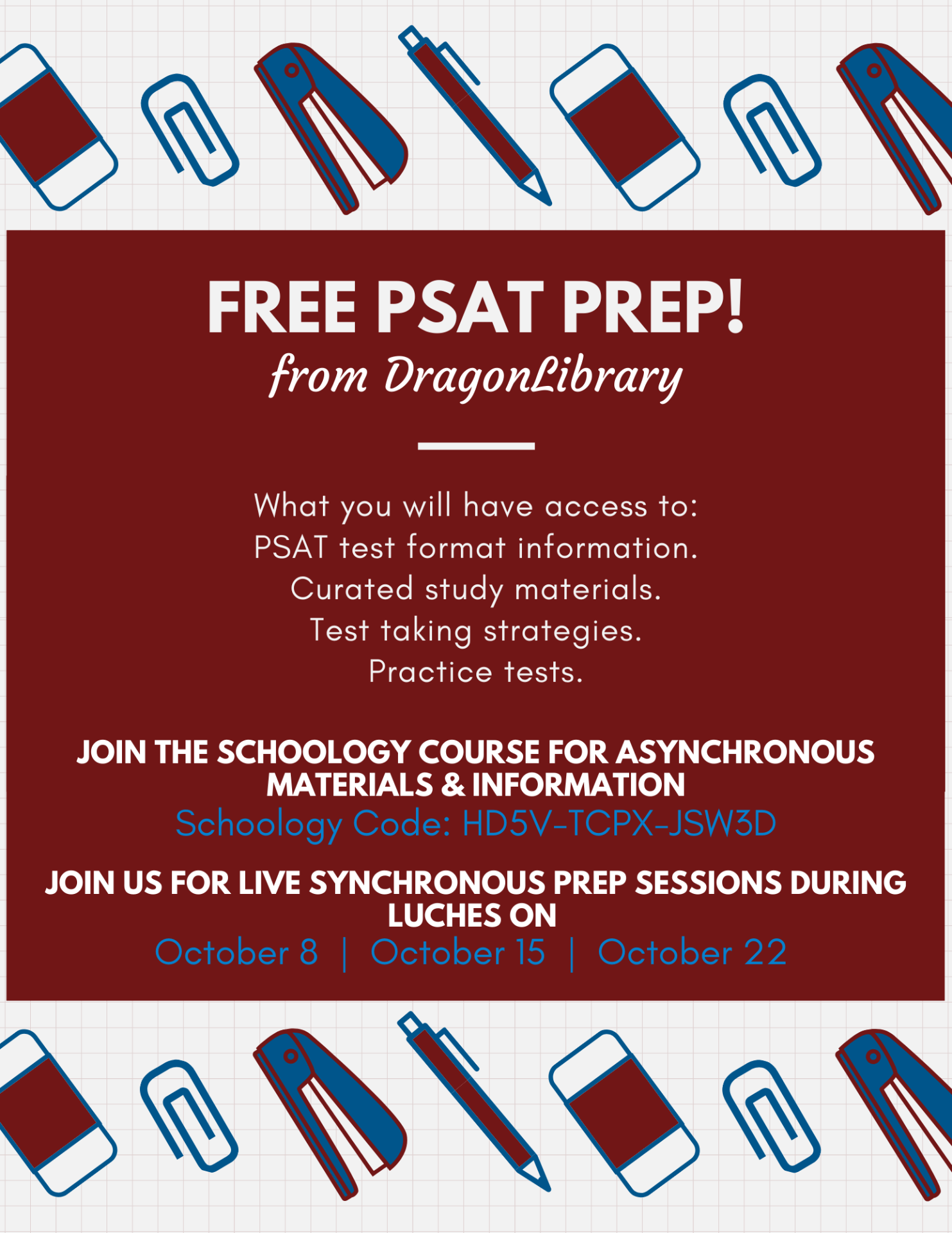 Free PSAT Prep with DragonLibrary flyer