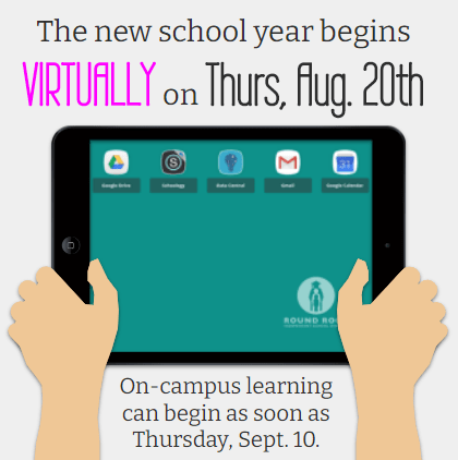 The new school year begins virtually on Thursday, August 20th. On campus learning can begin as soon as Thursday, September 10th.