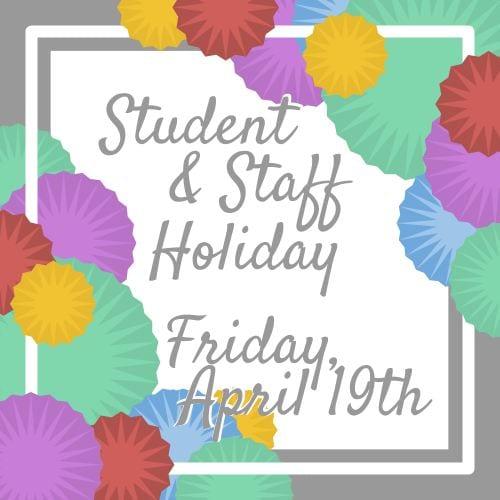 No School Friday, April 19th