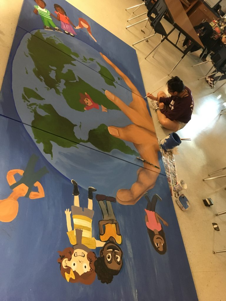 Stony Point High School Art Club creates YMCA Child Life Mural