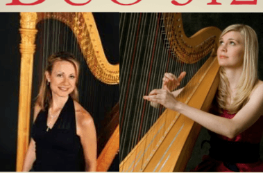 Harp duo perform student scholarship benefit concert