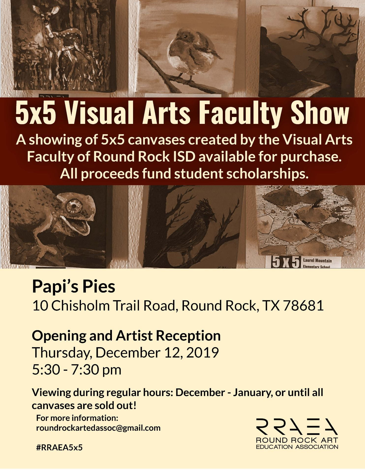 Support Student Scholarships – Annual 5×5 Faculty Show & Sale