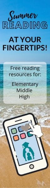 Summer reading at your fingertips. Free reading resources for elementary, middle and high schoolers. click to go to summer reading webpage