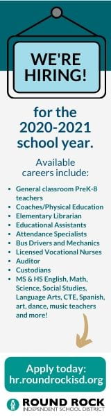 We're hiring for the 2020-21 school year. Available careers listed. Apply today link