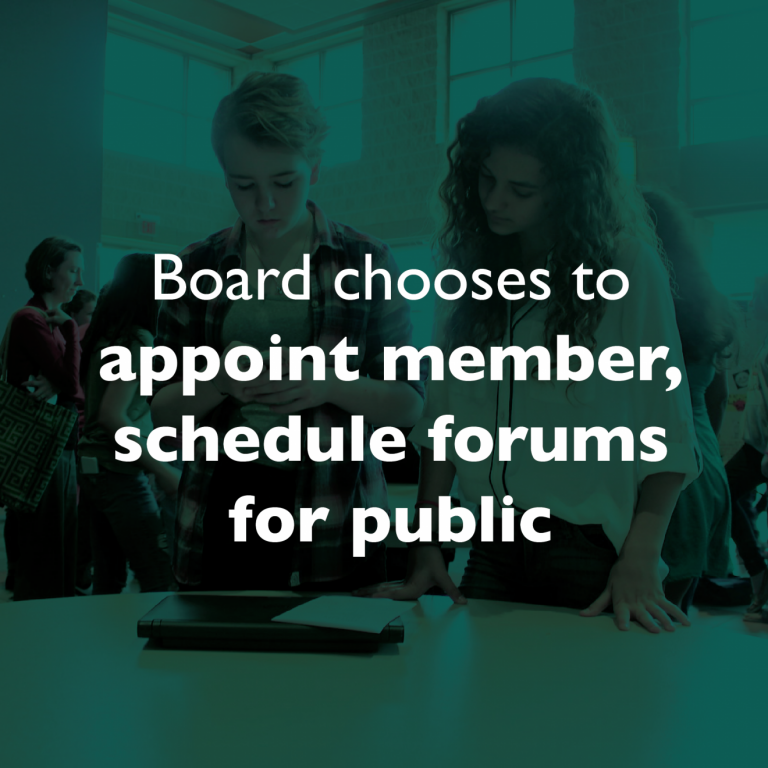 New Application Deadline: Board chooses to appoint Trustee, schedule forums for public