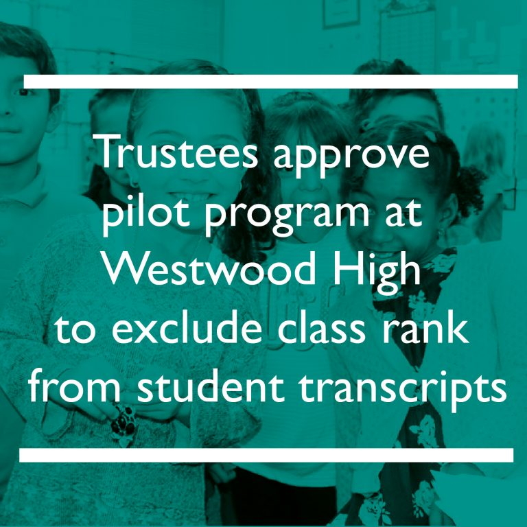 Trustees approve pilot program at Westwood High to exclude class rank from student transcripts