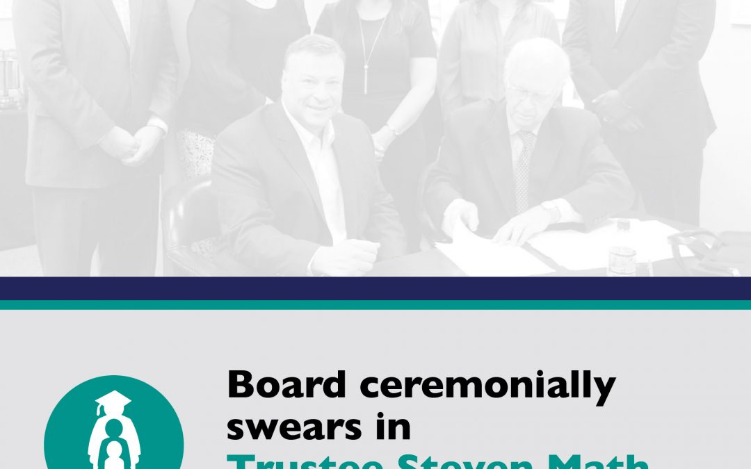Board ceremonially swears in Trustee Steven Math, votes on new leadership