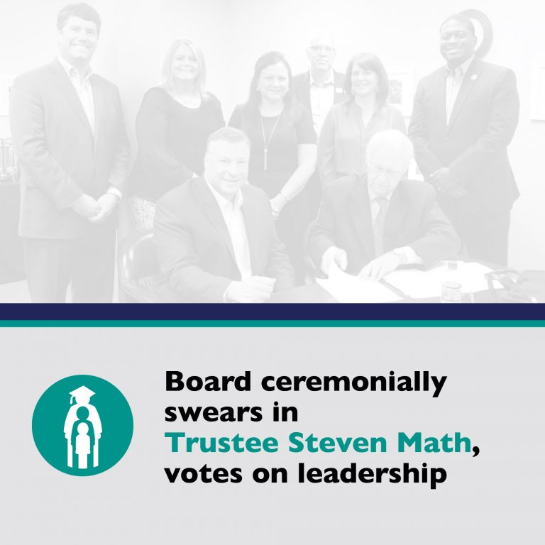 Board ceremonially swears in Trustee Steven Math, votes on new leadership