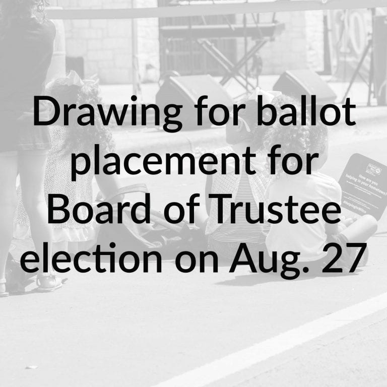 UPDATED: Drawing for ballot placement for Board of Trustee election on Aug. 27