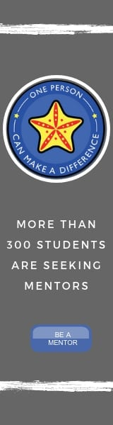 One person can make a difference. More than 300 students are seeking mentors. Be a mentor.