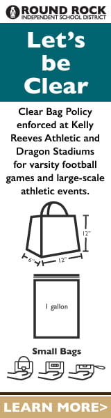 Let's be clear. Clear bag policy enforced at Kelly Reeves Athletic and Dragon Stadiums for varsity football games and large-scale athletic events. 12 x 12 x 6. 1 gallon. Small bag.