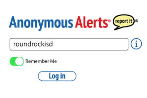 anonymous alerts activation screen. Type roundrockisd into text field to activate