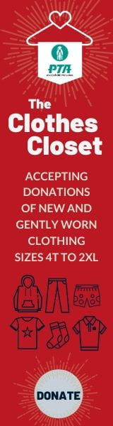The PTA Clothes Closet is accepting donations of new and gently worn clothing sizes 4T to 2XL. Donate button.
