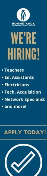 We're hiring! Teachers, Educational assistants, electricians, technology acquisition, network specialists and more. Apply today button.