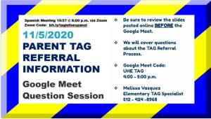 TAG meeting notice 11/5/2020 4-5 pm