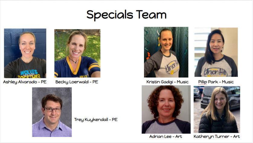 20-21 specials team teachers