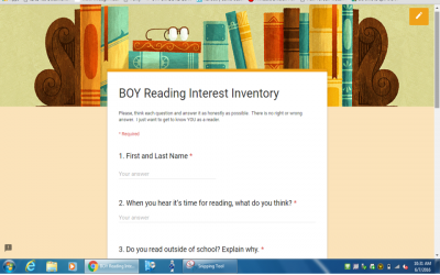 Interest Inventory for Readers to Launch Reading Workshop