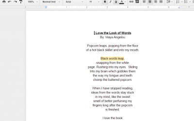 Using Google Docs to respond to poetry
