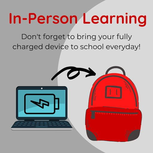 In Person Learning begins 9/15. Don't forget to bring charged device to school everyday.